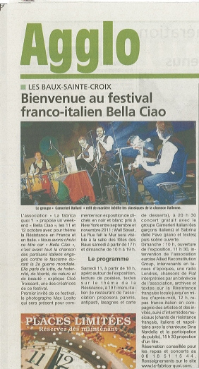 article Eure info 7 oct 2014 festival Bella ciao