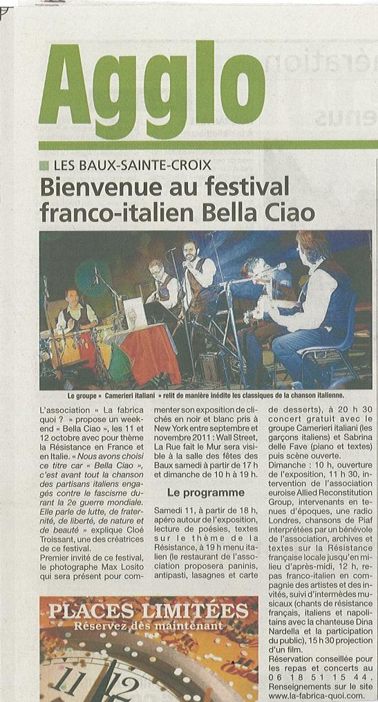 article Eure info 7 oct 2014 festival Bella ciao