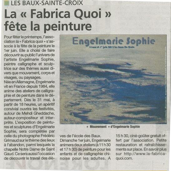 article mai 2014- la fabrica quoi- engelmarie sophie Eure infos