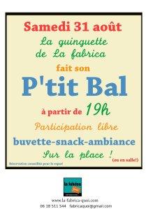 affiche bal- 31 aout Les Baux Ste Croix- La fabrica quoi?