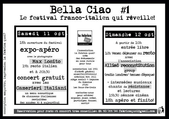 programme Bella Ciao La fabrica quoi